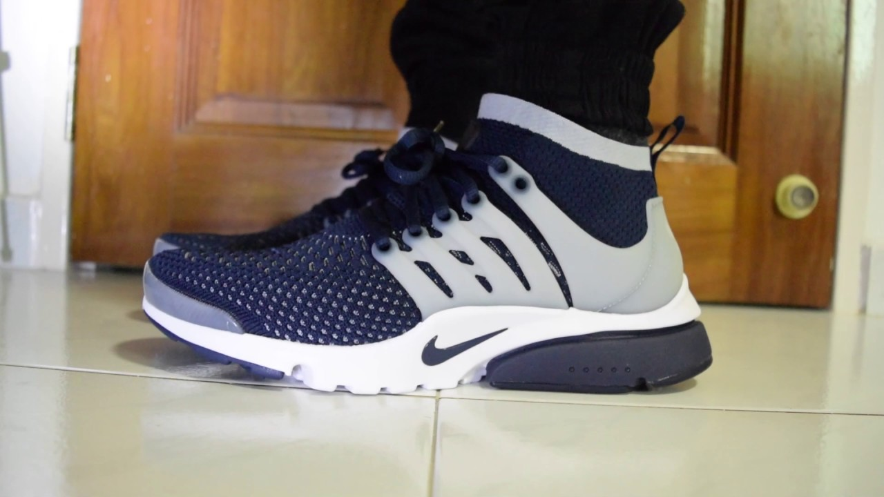 Cartas credenciales Susurro bloquear  Nike Air Presto Ultra Flyknit (Collegiate Navy / Wolf Grey) On Feet -  YouTube