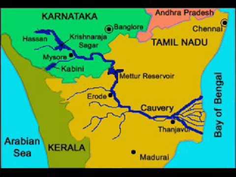 Cauvery River Map cauvery (kaveri) river problem between tamilnadu and karnadaka in  Cauvery River Map