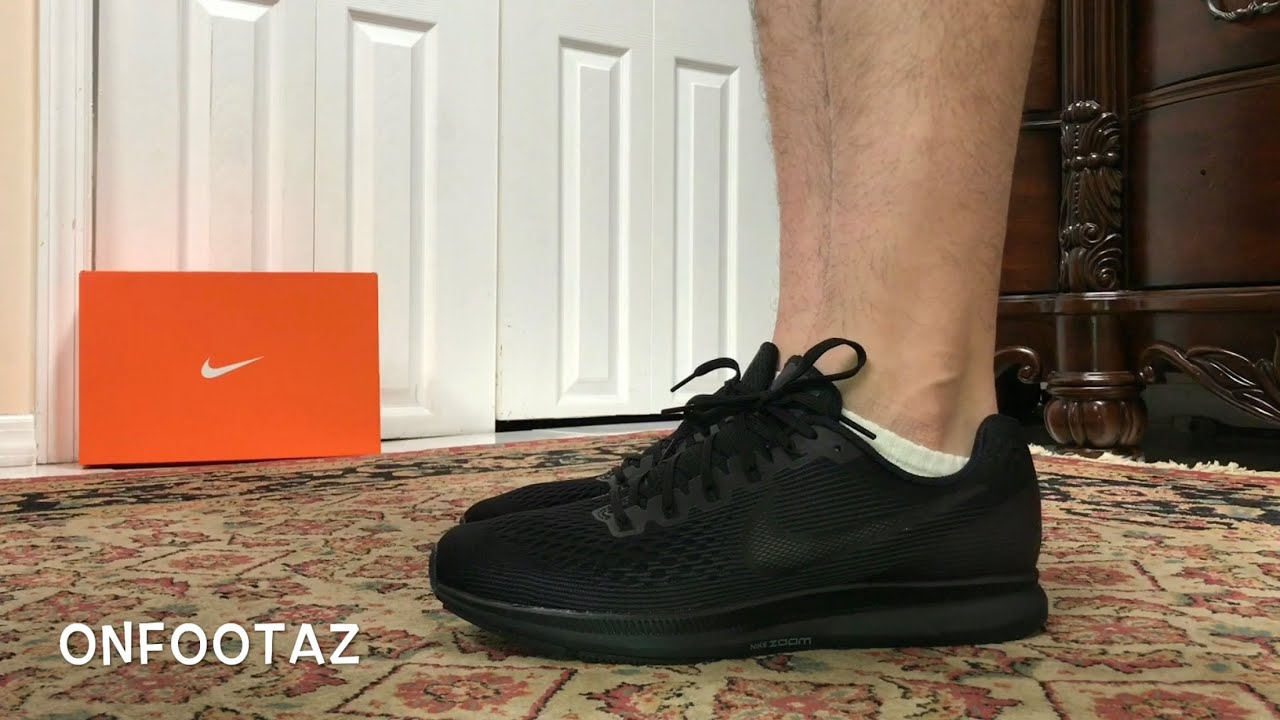 new concept 8f891 8ba73 Nike Air Zoom Pegasus 34 Triple Black On Foot