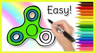 How to Draw a FIDGET SPINNER! Easy for Kids