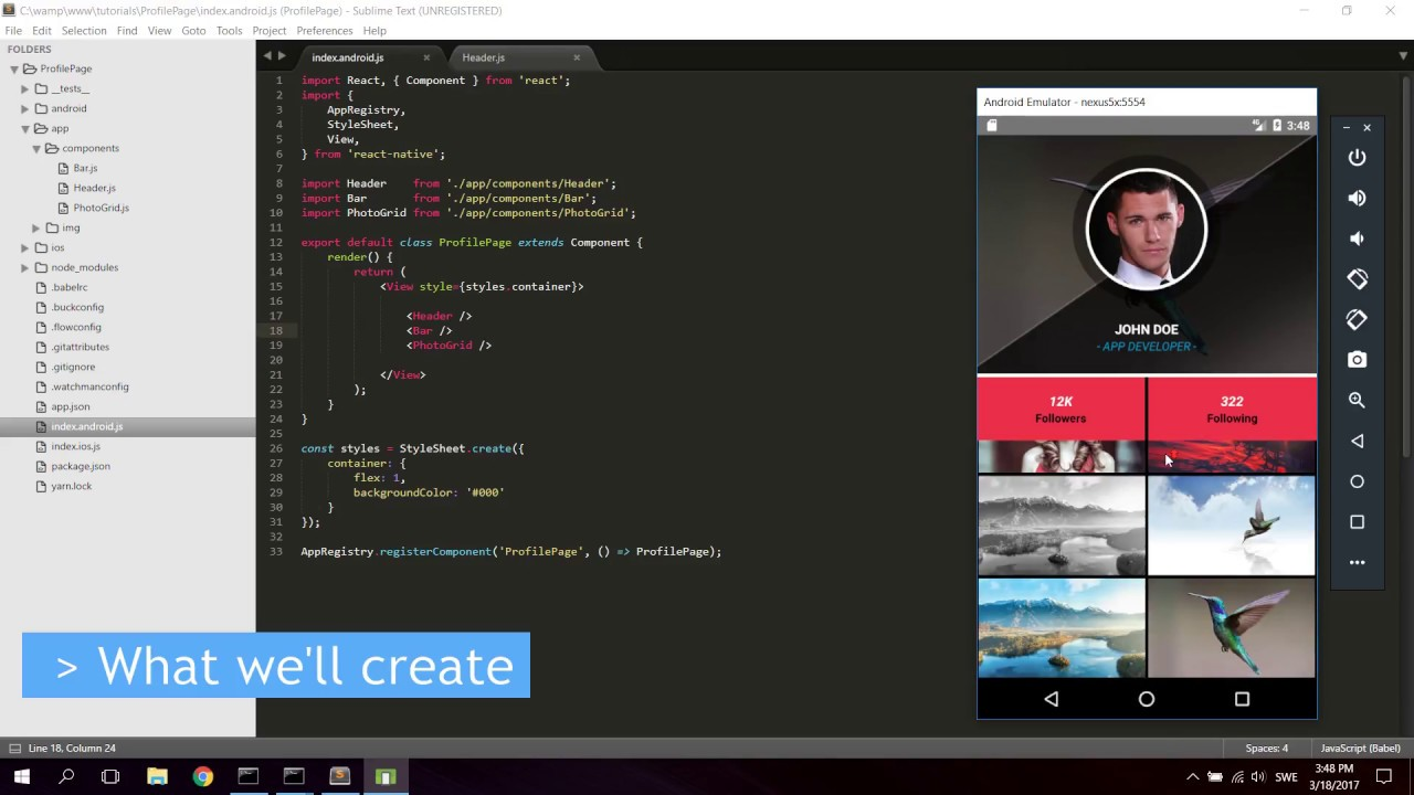 React Native Tutorial Create A Profile Page App For Iphone And