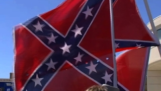 Raw: Confederate Flags Flown Near NCAA SC Arena