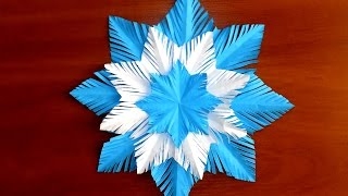 как сделать снежинку из бумаги своими руками схемы красивых снежинок(Цветная красивая снежинка из бумаги. На видео вы увидите: как сложить снежинку, как вырезать снежинку, как..., 2016-12-03T13:53:03.000Z)
