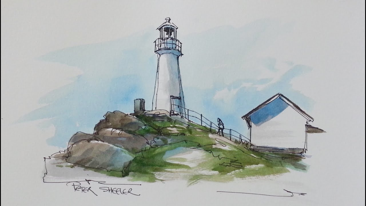Pen and Wash Watercolor Tutorial. Cape Spear Lighthouse by Peter Sheeler