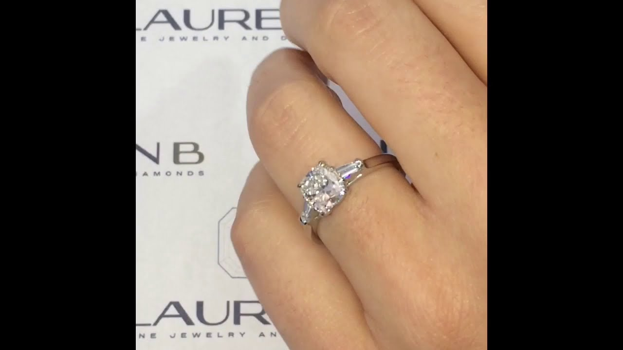 1.7 carat Cushion Cut Diamond Three-Stone Engagement Ring