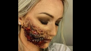 Zombie mouth liquid latex halloween tutorial