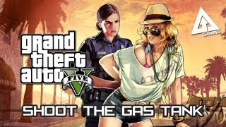 GTA 5 Tips and Tricks - How to Shoot the Gas Tank on a Vehicle (Grand Theft Auto V)