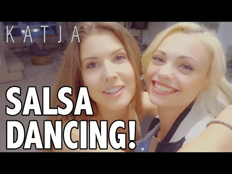 MY FIRST TIME SALSA DANCING! | Katja Glieson w Amanda Cerny
