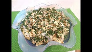 Салат с куриной печенью и грибами.👍