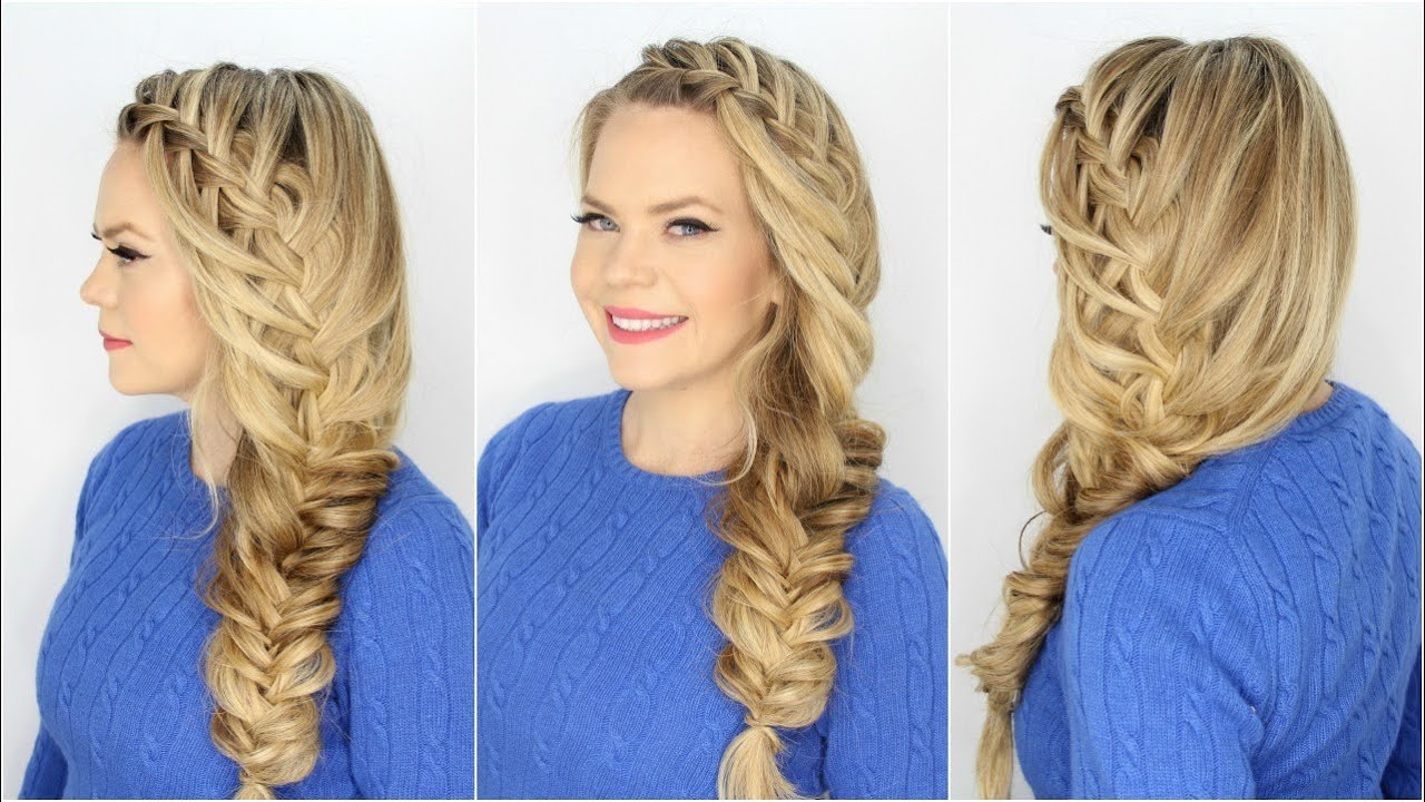 Fishtail Braid Hairstyles super fishtail braided hairstyles Cascading Waterfall Fishtail Braid Combination Hairstyles Youtube