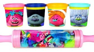 Dreamworks Trolls Play Doh Can Heads and Trolls Surprise Toys Learn Colors with Play Doh & Cartoons