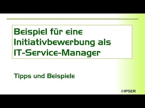 Initiativbewerbung Muster - IT-Service-Manager