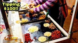 TIPPING $100 Dollars - For The BEST Mexican Street Food TACOS Of My LIFE!!! - San Luis Potosi MEXICO