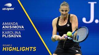 Amanda Anisimova vs Karolina Pliskova Highlights | 2021 US Open Round 2