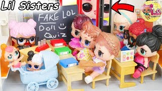 LOL Surprise Dolls + Lil Sisters in Fake Toy School and Playmobil Ambulance