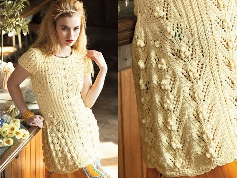 19 Lace And Bobble Tunic Dress Vogue Knitting Spring