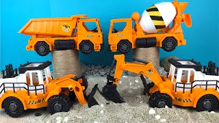 Just Kidz Construction Vehicles Mighty Machines - Bulldozer Excavator Dump Truck Sand Play