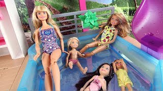 Barbie Sisters Dreamhouse Adventures Morning Routine Pool Party, Maison de Rêve Barbie à la piscine