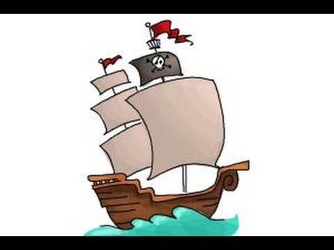 how to draw a pirate ship for kids youtube