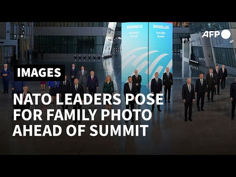 NATO leaders pose for a family photo ahead of summit in Brussels   AFP