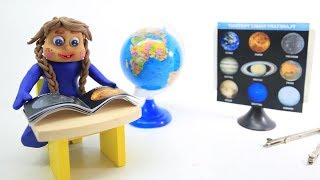 BABY PRINCESS TEACHING SOLAR SYSTEM   Clay & Play Doh Stop Motions For Kids