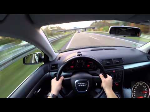 Audi A4 Avant 2.0 TDI (2005) on German Autobahn - POV Top Speed Drive