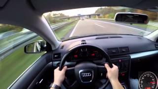 Audi A4 Avant 2.0 TDI (2005) on German Autobahn - POV Top Speed Drive
