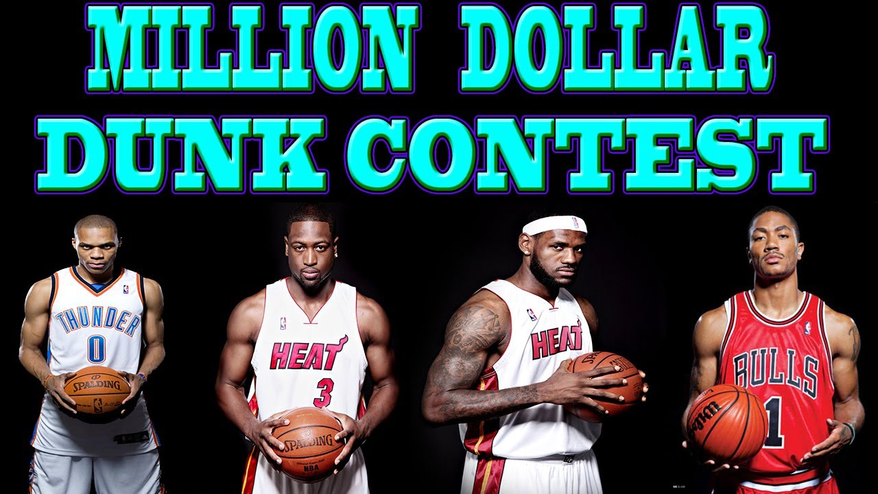 Million dollar dunk contest with lebron james dwyane wade derrick million dollar dunk contest with lebron james dwyane wade derrick rose russell westbrook youtube voltagebd Choice Image