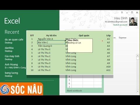 Hướng dẫn cách thêm chú thích trong bảng tính Excel