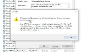 How To Fix Windows Defender Error 577: Windows Could Not Start The Windows Defender Service