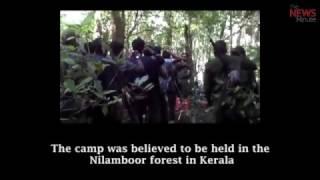 from Maoist training camp shows slain leader Kuppu Devaraj with armed cadres