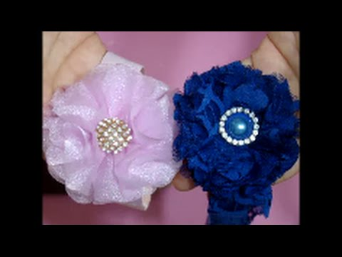 Diy   como fazer Flor organza para tiara passo a passo - YouTube e0d6e04c57d