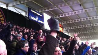 Leeds United Fans celebrate winning goal at Huddersfield Town Jan 2015