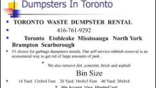 Toronto Garbage Bin Rental 416-761-9292