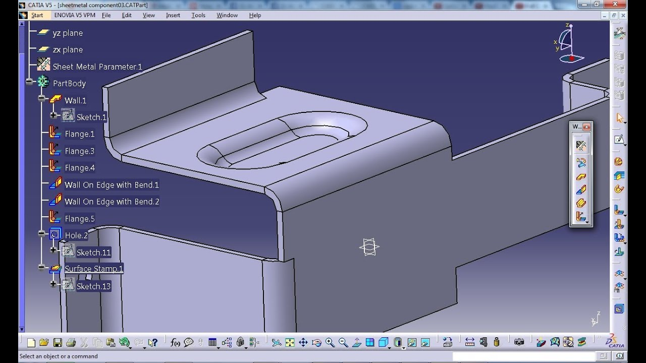 Catia V5 Tutorial Flanged Cut Out Stamp Sheetmetal