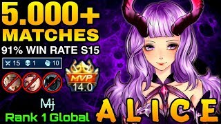 5000+ Matches Alice 91% Win Rate S15 - Top 1 Global Alice M̶j̶ - Mobile Legends