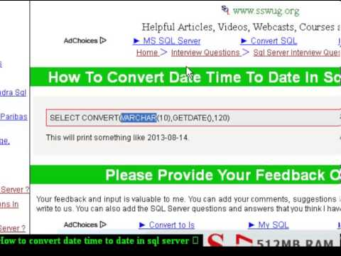 How to convert date time to date in sql server - YouTube - sql convert
