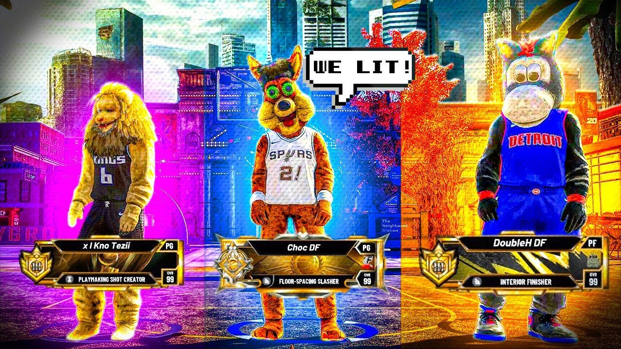 The First All Mascot Team On Nba 2k20 First Legend Teams Up With All Mascots Youtube