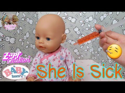 Zapf Creation Baby Born Doll Elly Gets Sick😷 Oh No 😱 She