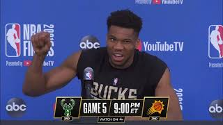 Giannis Antetokounmpo - NBA Finals Game 4   Post Game Interview