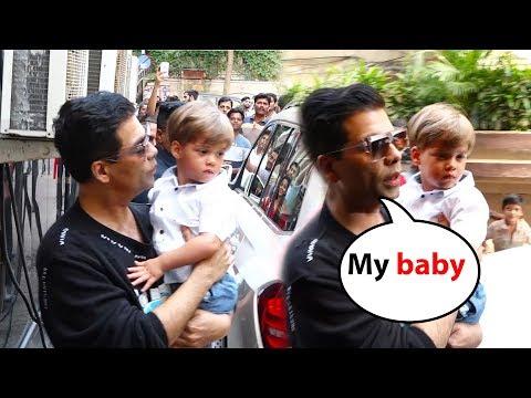 Watch karan johar With his cute Baby Yash Johar At lakshya kapoor 3rd Birthday Party