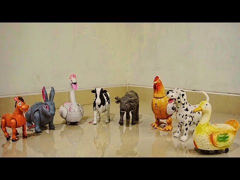Learn animal names and sound with walking animal toys horse, rabbit, swan, cow, hen eggs, dog, duck