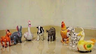 Nama hewan dan suara kuda, kelinci, angsa, sapi, ayam bertelur, bebek - Mainan hewan bisa jalan