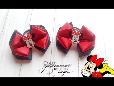 "Репсовые бантики ""Минни Маус"". Канзаши МК./ REP bows ""Minnie mouse""."