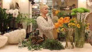 Уроки флористики. Анастасия Егорова, круглый букет с листьями магнолии