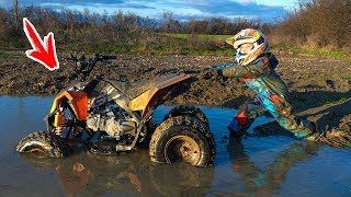 Квадрик ВЕЗДЕХОД...Tisha rides a children's ATV and is stuck in a puddle.