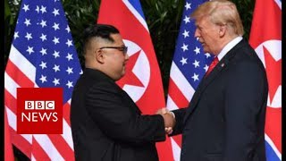 A historic moment: Trump and Kim shake hands- BBC News