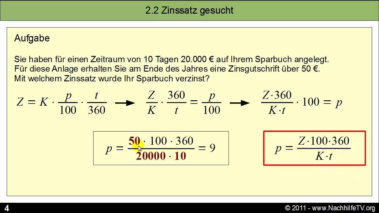 allgemeine zinsformel - mathebibel.de