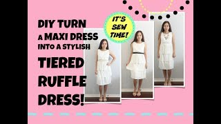 HOWTO DIY TURN A MAXI DRESS INTO A CUTE TIERED RUFFLE DRESS