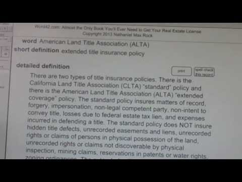 American Land Title Association (ALTA) CA Real Estate License Exam Top Pass Words VocabUBee.com